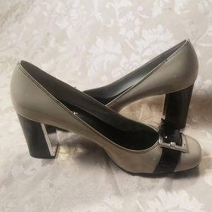 Franco Sarto Grey & Black Patent Leather Pumps